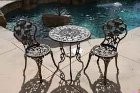 Hd Designs Outdoors Orchards Retro Bistro Set 3 Piece Bistro Set Outdoor Patio Furniture 3 Piece Rose Pattern Brown Antique Bronze Finish Cast Iron Aluminum