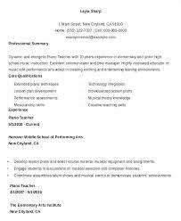 Sample Music Teacher Resume Music Teacher Resume Piano Teacher