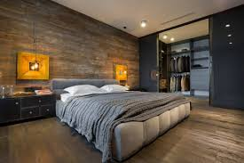 Bedroom : Minimalist Bachelor Bedroom With Grey Minimalist Low Profile Bed  Feat White Pillows Near Black Nightstand On Brown Wood Floor Also Modern  Walk In ...