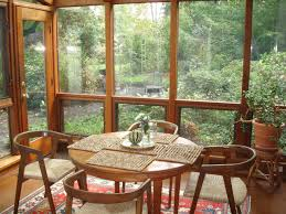 ... Superb Designs Of Sunroom Dining Room Ideas : Surprising Decorating  Ideas Using Rounded Brown Wooden Tables ...