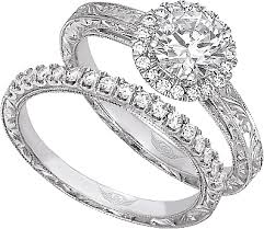 engagement ring vs wedding ring. this image shows the setting with a 1.00ct round brilliant cut center diamond. engagement ring vs wedding t
