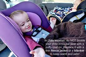winter weather car seat safety tip no puffy coats