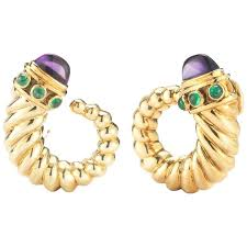 david yurman amethyst emerald gold earrings for