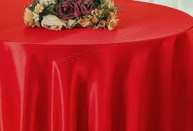 108 round satin table overlay red 55612 1pc pk
