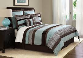 Elegant Bedroom Aqua Blue And Brown Striped Bedding Set Added Blue Table Bedroom  Comforter Sets With Curtains Designs