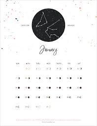 FREE Full 2018 Printable Calendar / Moon Phases & Zodiac Signs ...