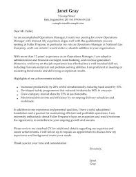 Operations Manager Cover Letter Cover Letter For Operations Manager