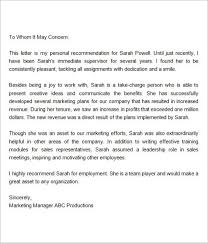 Letter Of Recommendation Supervisor Recommendation Letter For Employment From Manager Reference