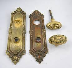 Antique Brass Door Knobs And Plates Closet Victorian Knob Backplate
