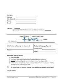 utah expungement form petition to expunge records utah forms laws com