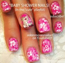 Baby Shower Nails! | It's A Girl PINK Nail Art Design Tutorial ...
