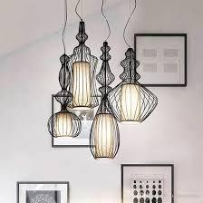 led modern pendant lamps big nobles hanging pendant lights fixture white black bird cage restaurant cafes pub home indoor lighting droplight kitchen ceiling