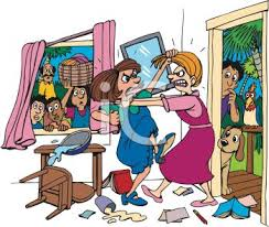 family room clipart. cartoon of two women fighting in a living room - royalty free clip art image family clipart