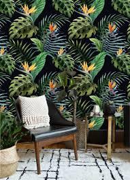 Zelfklevend Behang Exotische Planten Groen Zwart Oranje 4 60x275 Cm