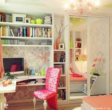 Pink And White Wallpaper For A Bedroom Magnificent Corner Of Girls Room Idea With White Bookshelves And