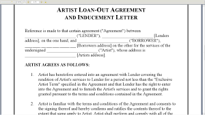 artist loan out agreement and inducement letter artist loan out agreement and inducement letter