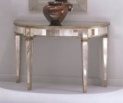 half circle console table w mirrored accents tapered legs inside round remodel 3