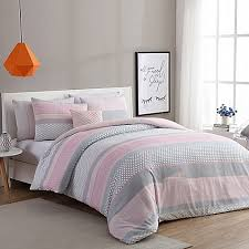 VCNY Home Stockholm Duvet Cover Set in Pink/Grey - Bed Bath & Beyond & VCNY Home Stockholm Duvet Cover Set in Pink/Grey Adamdwight.com
