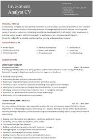 cv examples  templates  creative   able  fully    a professional two page investment analyst cv example