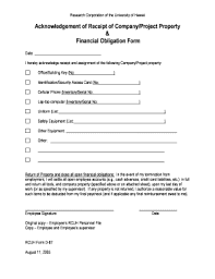 company property acknowledgement form acknowledgement of receipt format fill online printable fillable