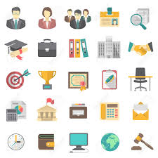 Modern Resume Icon Modern Flat Icons For Business Resume And The Searching Of Human