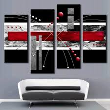 amazing black white and red wall art 5 canvas murals ideas regarding cur