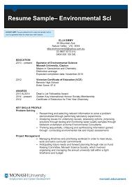 Resume Sample Environmental Sci Monash
