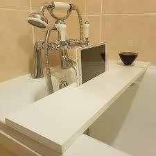 wood handmade bathtub rack bridge bath caddy tray with ipad phone holder white