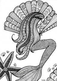 Free Coloring Page For Adults Mermaid With Shells Kleurplaat Voor