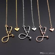 whole i love you heart stethoscope necklace silver rose gold pendant fashion jewelry for women nurse doctor best friend gift drop ship 162506 gold