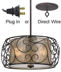 bronze iron mica drum pendant light chandelier
