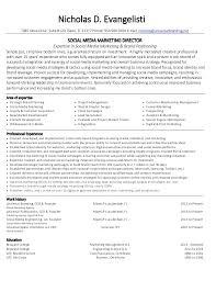 Nicholas Evangelisti Social Media Marketing Director Resume Impressive Social Media Marketing Resume