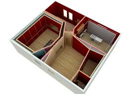 perspective aerial view of home recording studio barn conversion produced during the design development phase