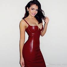 red tight leather dress