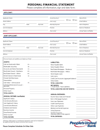 personnal financial statement united bank personal financial statement fill online printable