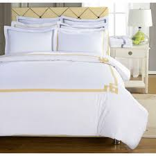 details about 3 piece full queen size hotel cotton embroidered duvet cover set white yellow