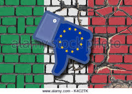 referendum italy eroding italian flag and facebook dislike icon with eu european union flag stock