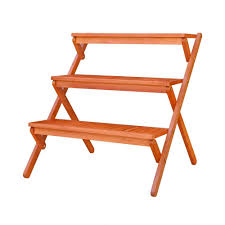 3 tiered outdoor wood plant stand