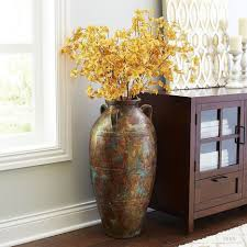 Contemporary Rustic Metal Impression Big Vases Together With Dry Yellow  Flowers Plus Ancient Drawing Combined Along