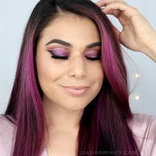 purple glitter cut crease eyeshadow tutorial for new years new years eve makeup slashed
