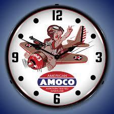 amoco aviation wall clock lighted
