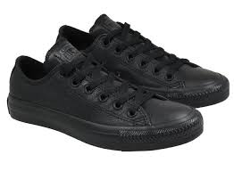 converse womens shoes ox low black mono leather image