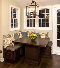 small breakfast nook bench with storage drawers and square table under rustic pendant lighting breakfast nook lighting