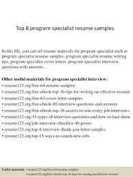 Top 8 program specialist resume samples In this file, you can ref resume  materials for ...