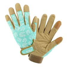 style selections women s medium blue tan leather garden gloves
