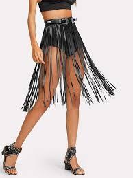 shein faux leather fringe skirt