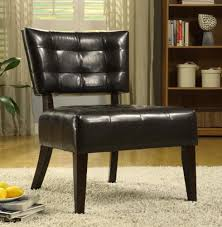 armless accent chairs living room. oxford creek contemporary armless accent chair in dark brown faux leather - home furniture living room chairs h