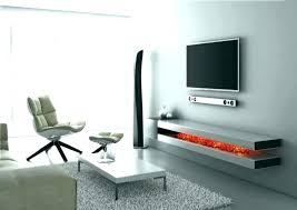 floating shelf with shelves under wall mounted grey stained wooden stands white tv for media center