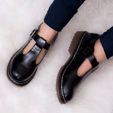 ed buckle mary jane t bar flat shoes black leather style p4272 27603 image jpg