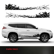 Pajero Sticker Design Us 47 84 20 Off Car Stickers 2pc Cool Car Side Body Door Mud Styling Graphic Vinyl Car Accessories Decals Custom For Mitsubishi Pajero Sport In Car